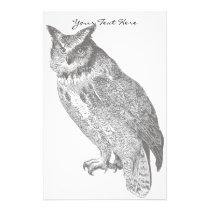 Vintage Horned Owl Stationery