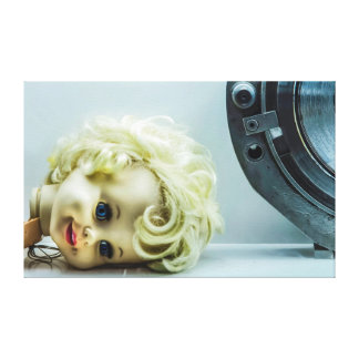 Vintage Horror Gothic Broken Doll Head Stretched Canvas Prints