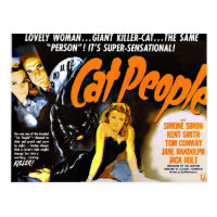 Vintage Horror Poster Cat People Postcard
