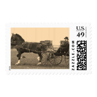 Vintage Horse and Carriage in Sepia Postage
