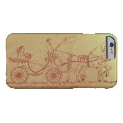 Vintage horse and carriage sepia drawing barely there iPhone 6 case