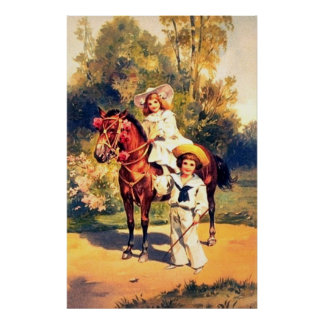 Vintage Horse And Children Print