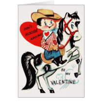 Vintage Horse and Cowboy Valentine's Day Card