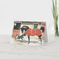 Vintage Horse and Dog Friends, Merry Christmas Holiday Card