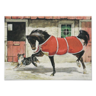 Vintage Horse and Dog Friends Print