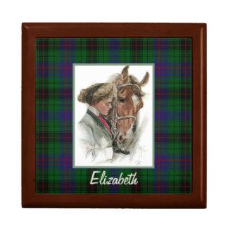 Vintage horse and Girl on Davidson Plaid Tile Box