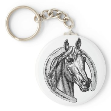 VintageRetroPosters Vintage Horse and Horseshoe Keychain