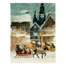 Vintage Horse and Sleigh Postcard