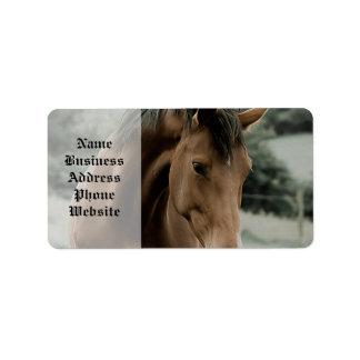 vintage horse animal painting art address label