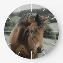 vintage horse animal painting art large clock