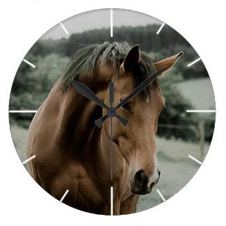 vintage horse animal painting art large clock