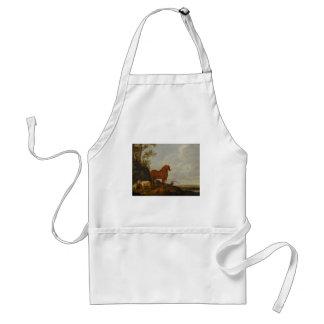 vintage horse art adult apron