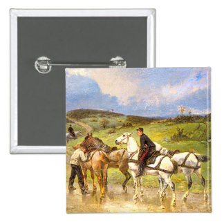 Vintage Horse Art: Changing Horses 2 Inch Square Button