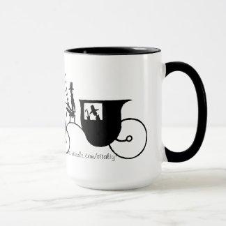 Vintage Horse Carriage black and  pen ink drawing Mug