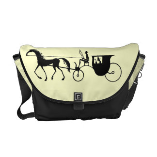 Vintage Horse Carriage black and white pen ink art Courier Bag