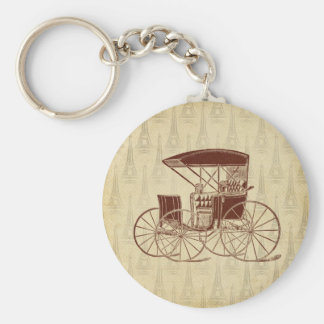 Vintage Horse Carriage in Paris Key Chain