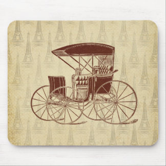 Vintage Horse Carriage in Paris Mouse Pad
