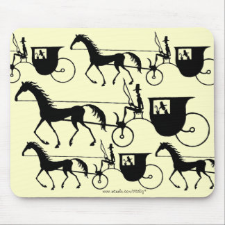 Vintage Horse Carriage pen ink black and white art Mouse Pad