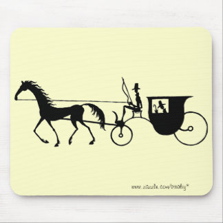 Vintage Horse Carriage pen ink drawing mousepad