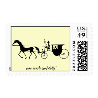Vintage Horse Carriage pen ink drawing stamp
