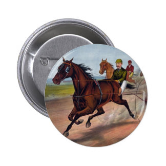 Vintage horse carriage racing button/pin/badge