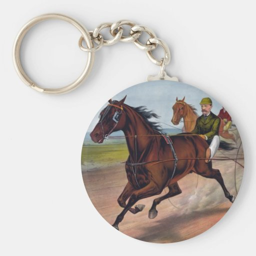 Vintage horse carriage racing keychain
