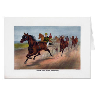 Vintage horse carriage racing print card