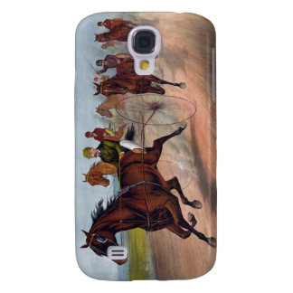 Vintage horse carriage racing print galaxy s4 covers
