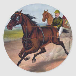 Vintage horse carriage racing print classic round sticker