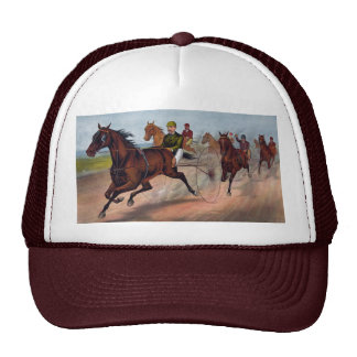 Vintage horse carriage racing print mesh hat