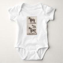 Vintage Horse Clydesdale Shetland Belgian Horses Baby Bodysuit