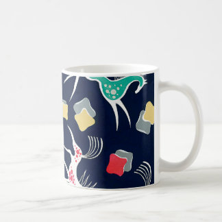Vintage Horse Design on Navy Backgroud Coffee Mug
