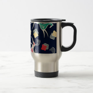 Vintage Horse Design on Navy Backgroud Travel Mug