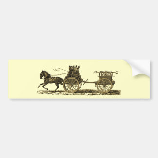 Vintage Horse Drawn Fire Engine Illustration Bumper Sticker