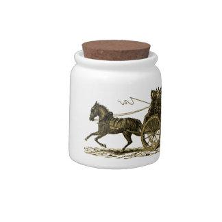 Vintage Horse Drawn Fire Engine Illustration Candy Jar