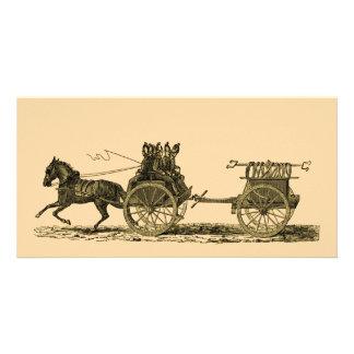 Vintage Horse Drawn Fire Engine Illustration Card