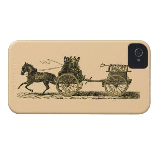 Vintage Horse Drawn Fire Engine Illustration iPhone 4 Case-Mate Case