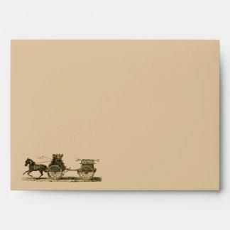 Vintage Horse Drawn Fire Engine Illustration Envelope