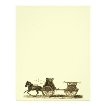Vintage Horse Drawn Fire Engine Illustration Flyer