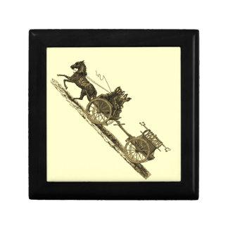 Vintage Horse Drawn Fire Engine Illustration Keepsake Box
