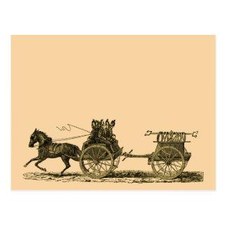 Vintage Horse Drawn Fire Engine Illustration Postcard