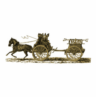 Vintage Horse Drawn Fire Engine Illustration Statuette