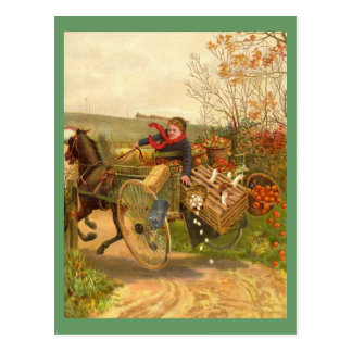 Vintage Horse Drawn Wagon Postcard