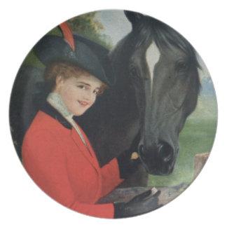 Vintage Horse Equestrian Girl Red Jacket Plate