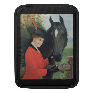 Vintage Horse Equestrian Red Riding Jacket iPad Sleeve