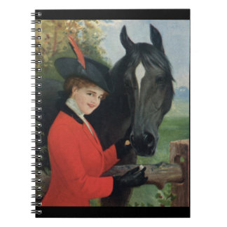 Vintage Horse Equestrian Red Riding Jacket Notebook