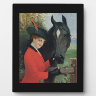 Vintage Horse Equestrian Red Riding Jacket Display Plaque