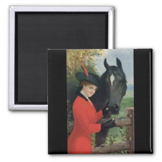 Vintage Horse Girl Red Coat Equestrian Sugar Cube 2 Inch Square Magnet