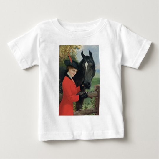 Vintage Horse Girl Red Coat Equestrian Sugar Cube Baby T-Shirt