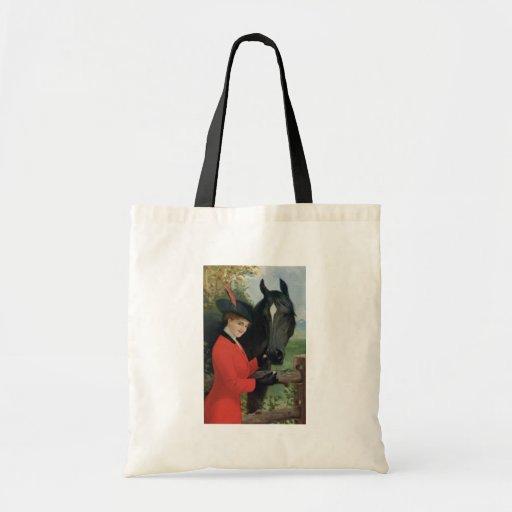 Vintage Horse Girl Red Coat Equestrian Sugar Cube Tote Bag